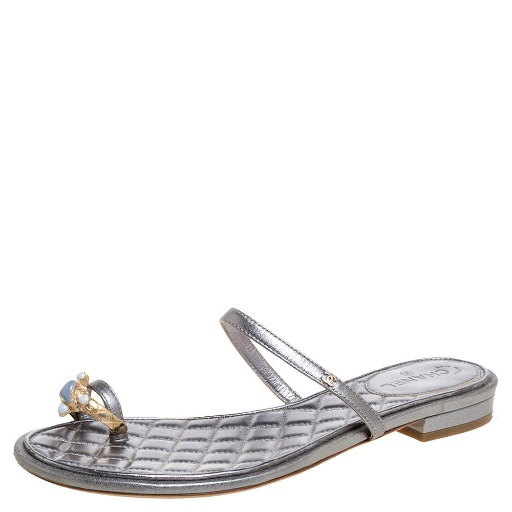 Chanel Silver  Leather Two-piece Embellished Sandals Size 36.5