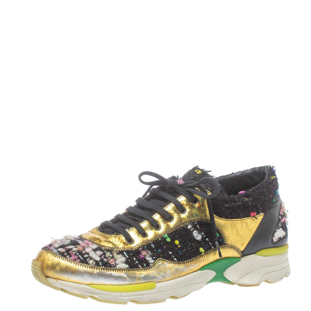 Chanel Multicolor Tweed and Metallic Leather Lace Up Sneakers Size 39.5