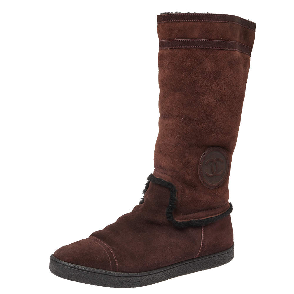 Chanel Brown Suede Mid Length Boots Size 40