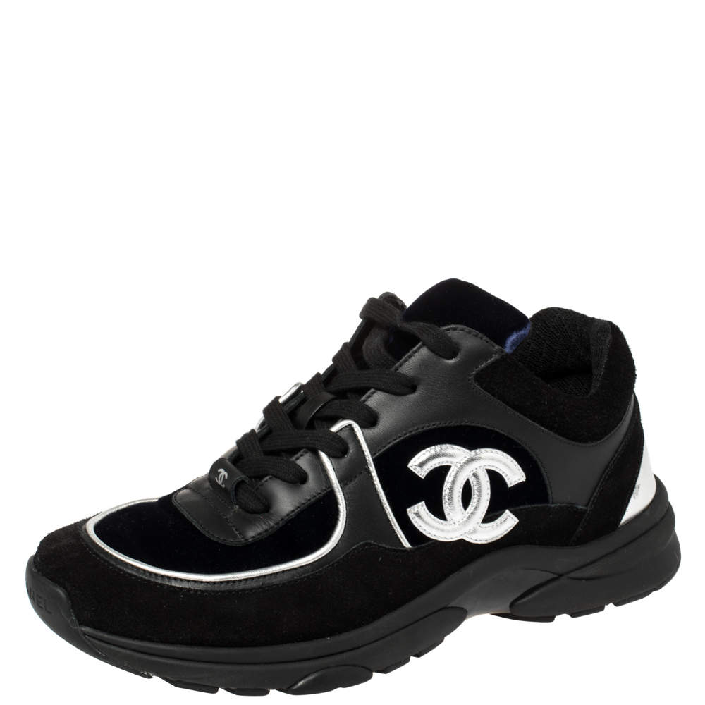 Chanel Blue/Black Velvet, Suede And Leather CC Low Top Sneakers Size 40