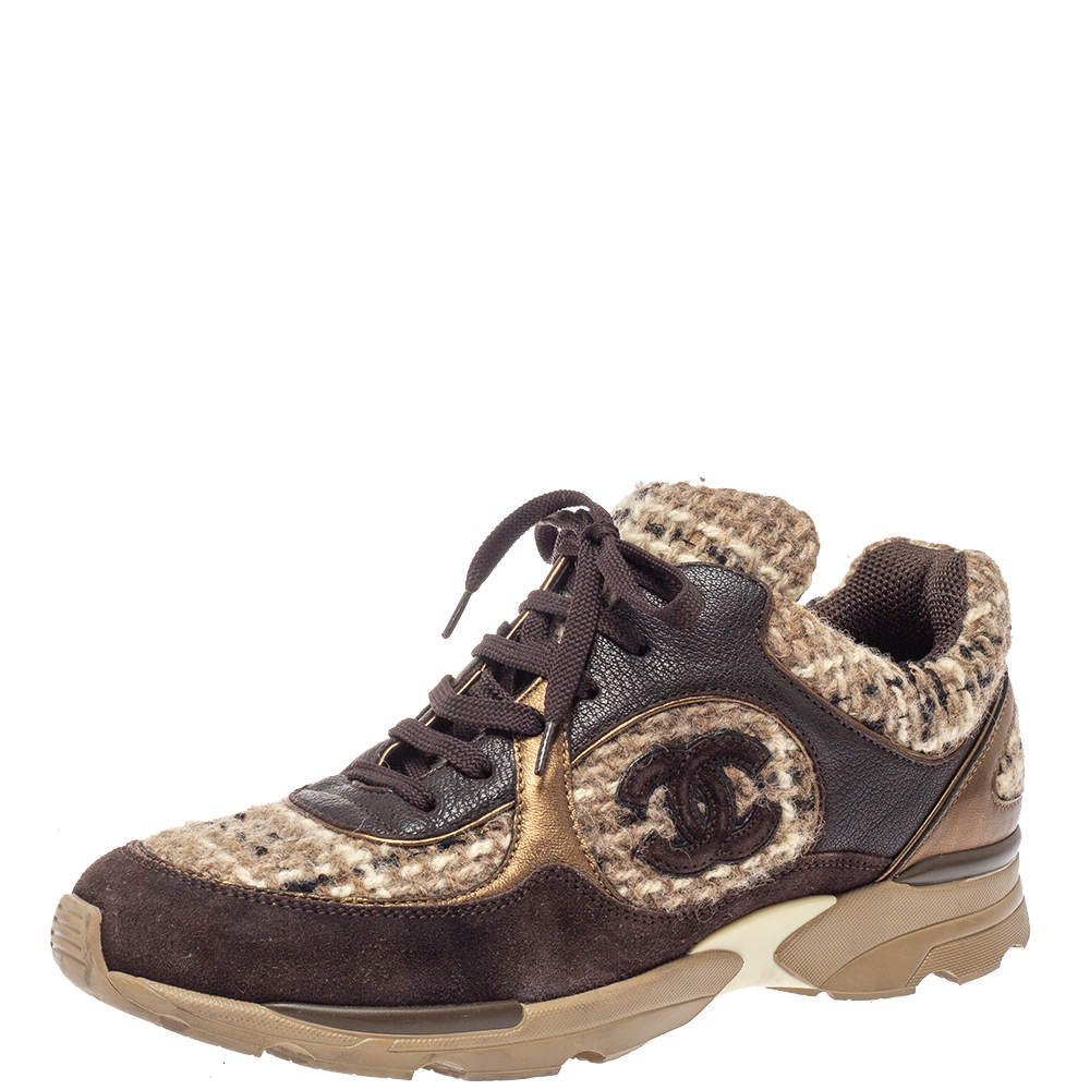 Chanel Brown Woolen Tweed and Metallic Leather CC Lace Up Sneakers Size 41