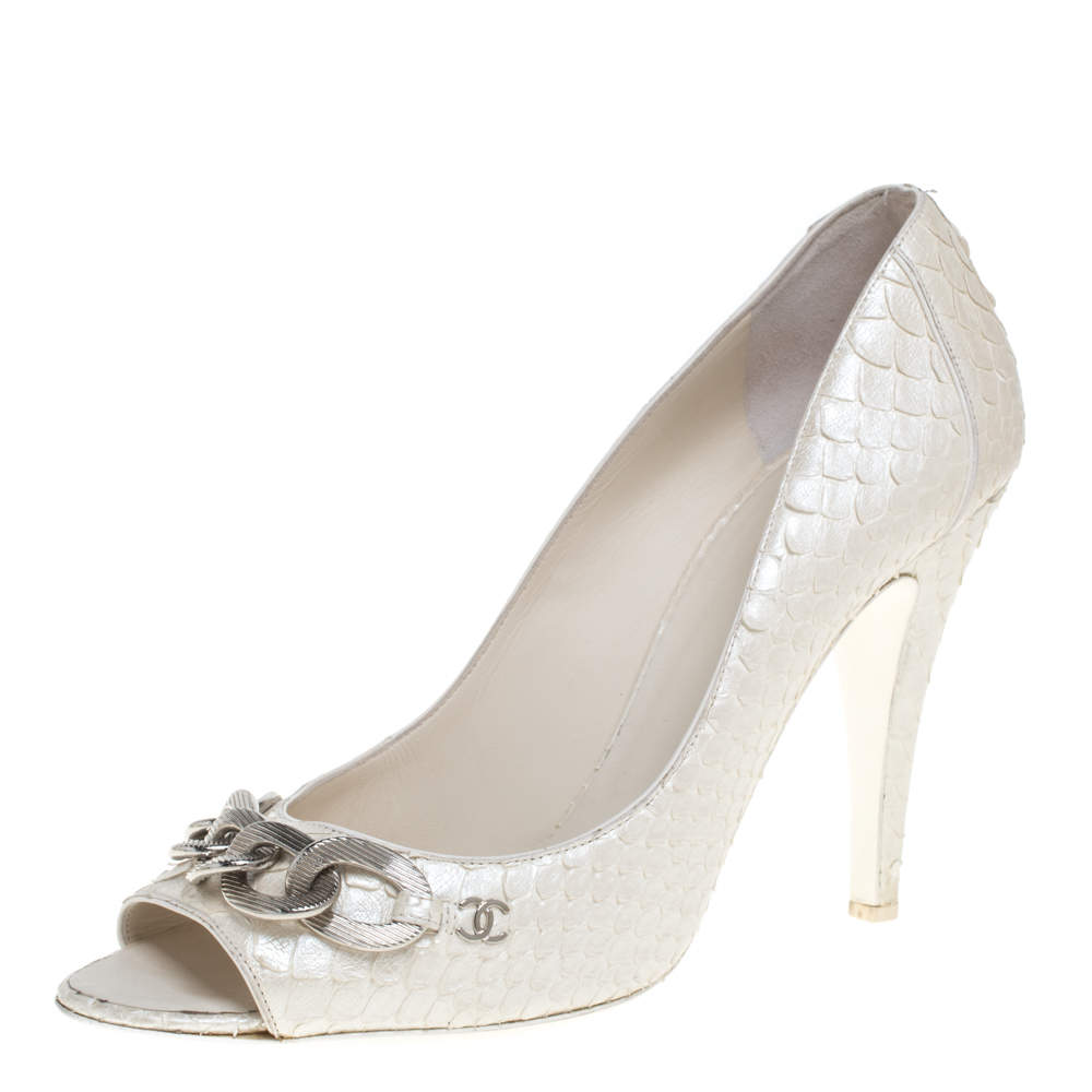Chanel White Python CC Chain Detail Peep Toe Pumps Size 40.5