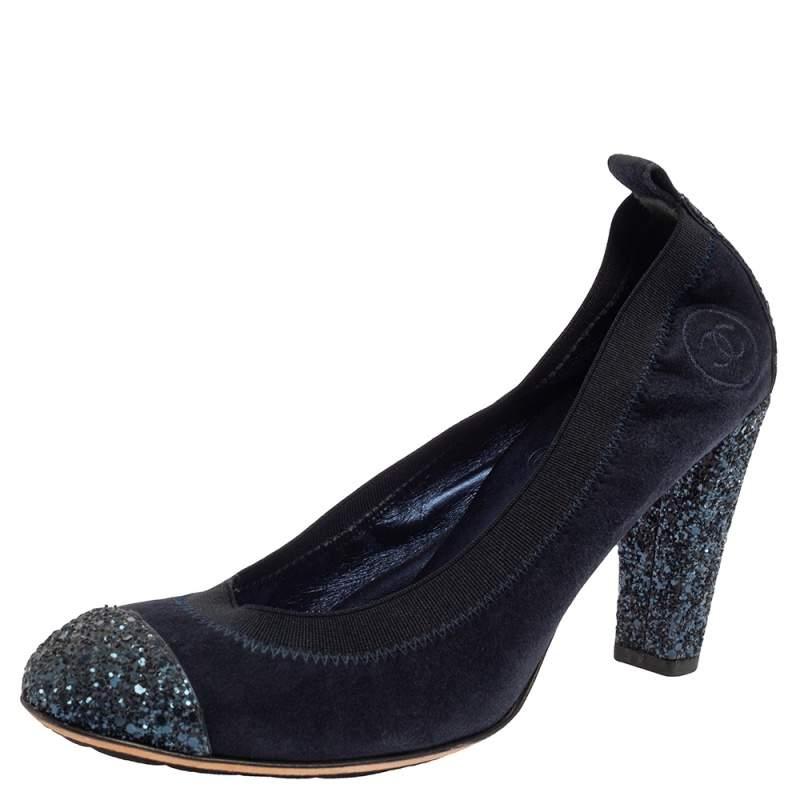 Chanel Blue Suede And Coarse Glitter Cap Toe Scrunch Pumps Size 38