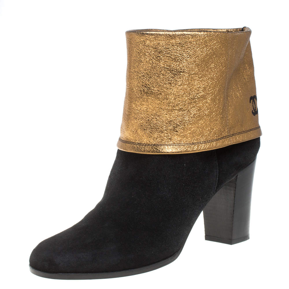 Chanel Black/Gold Suede CC Fold Ankle Boots Size 41