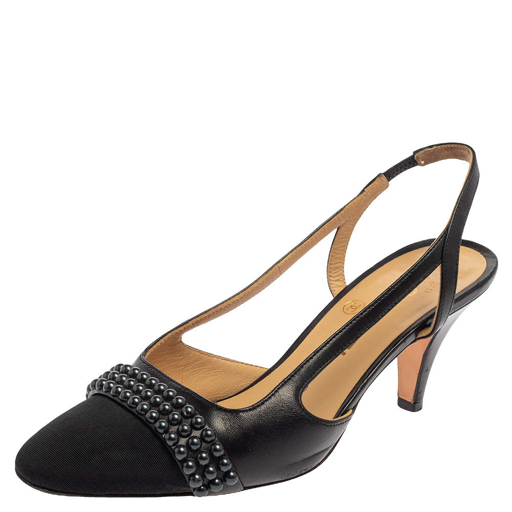 Chanel Black Leather and Fabric Studded CC Slingback Sandals Size 36