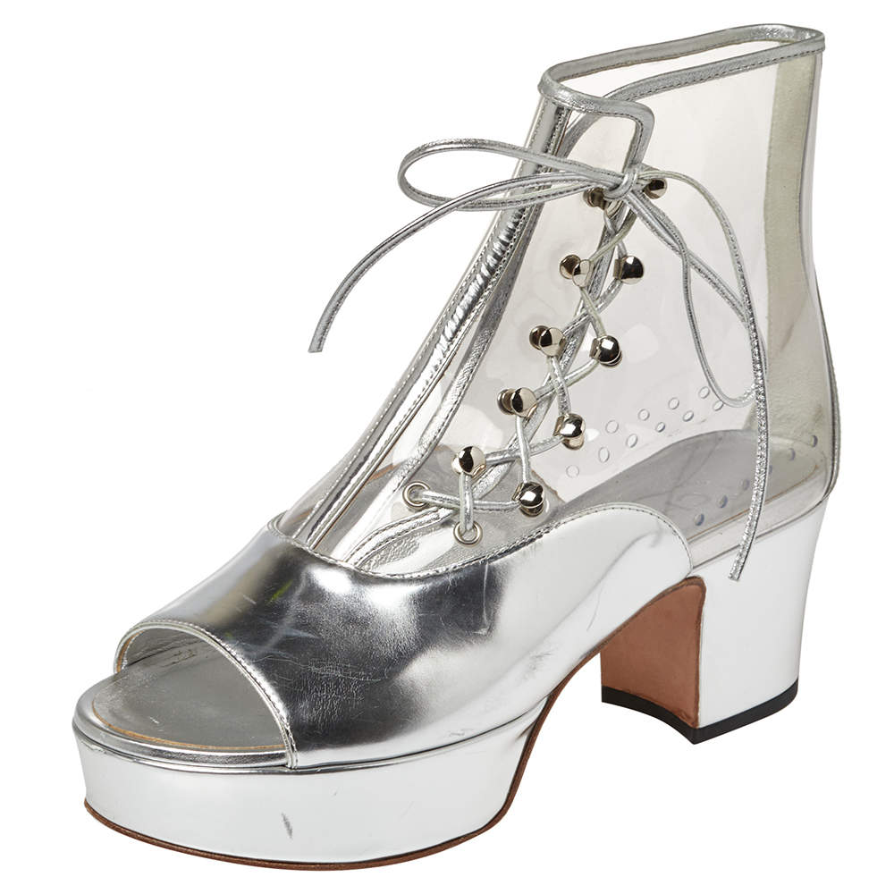 Chanel Metallic Silver Leather And PVC Open Toe Platform Ankle Booties Size 36
