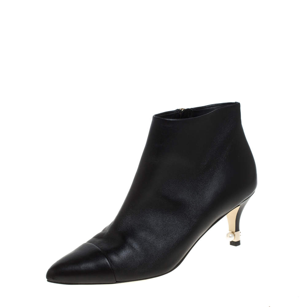 Chanel Black Leather Cap Toe Pearl Embellished CC Heel Ankle Boots Size 38.5