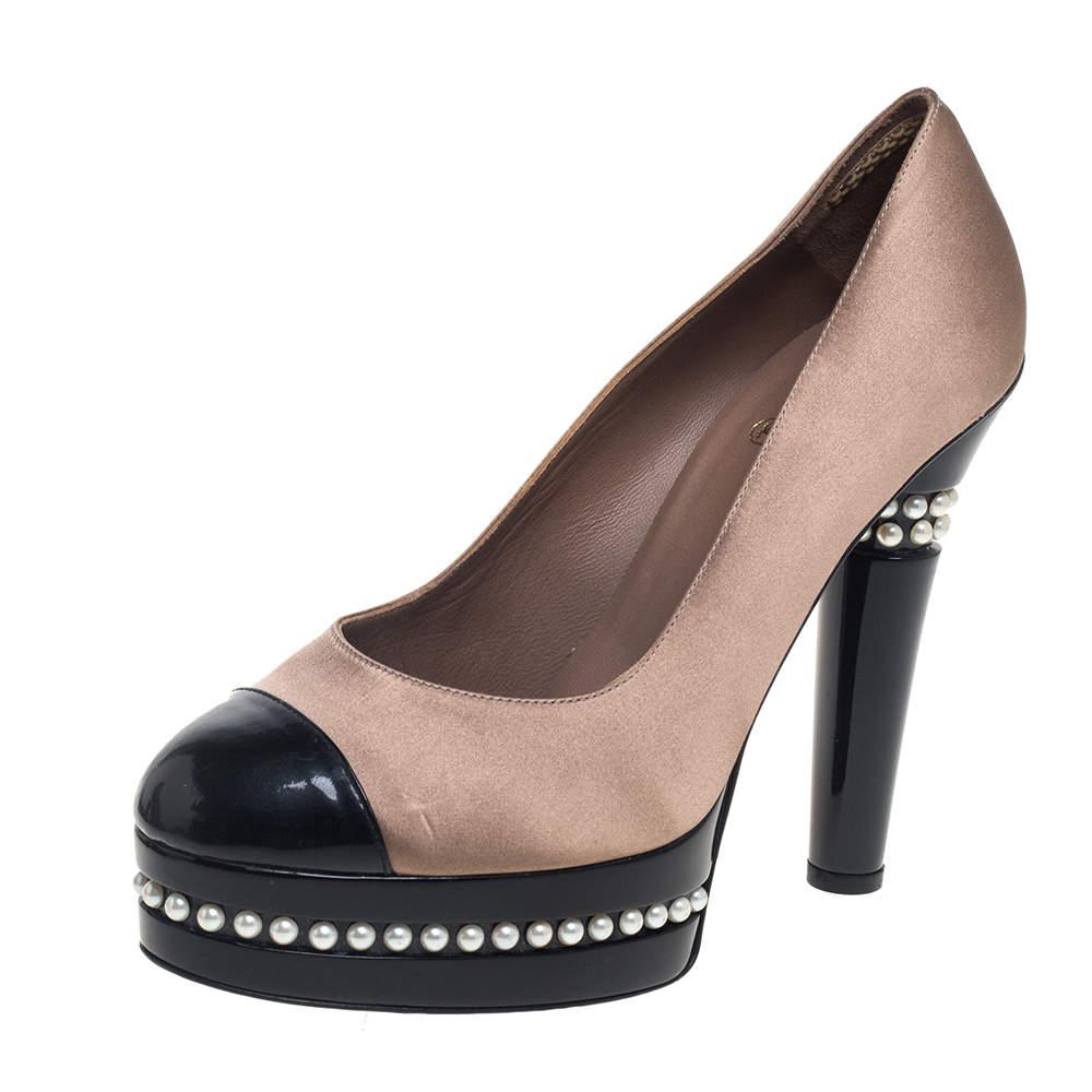 Chanel Beige/Black Satin And Patent Leather Cap Toe Pearl Platform Pumps Size 39.5
