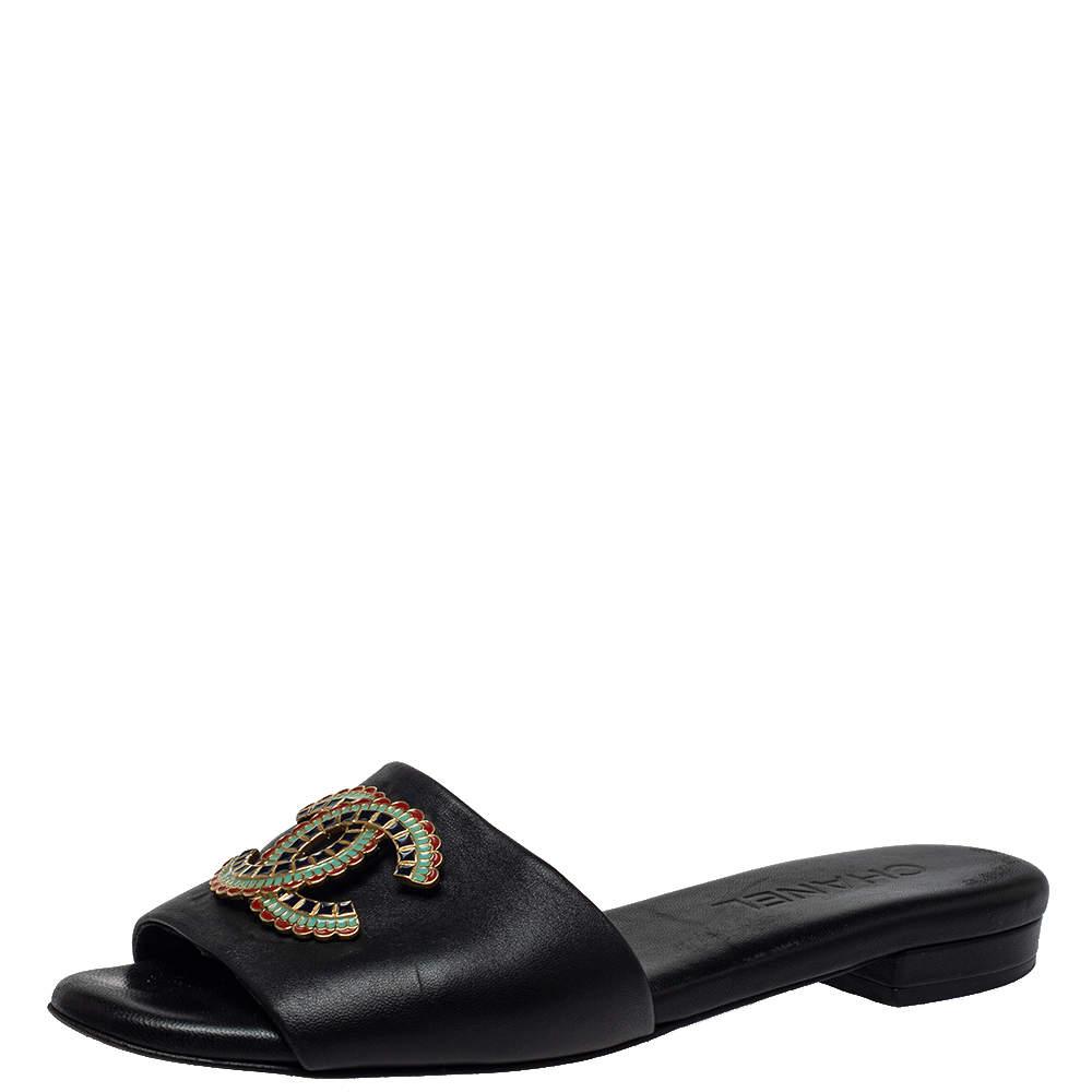 Chanel Black Leather CC Embellished Flats Size 36.5