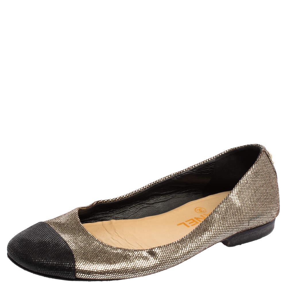 حذاء باليرينا فلات كلوي مزين سي سي مقدمة سوداء غليتر ذهبي ميتاليك و أسود مقاس 37