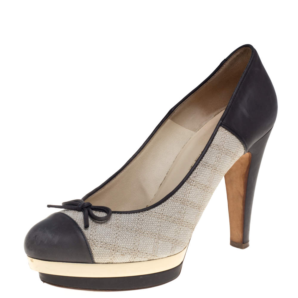 Chanel Grey Leather and Beige Canvas Bow Platform Pumps Size 38.5