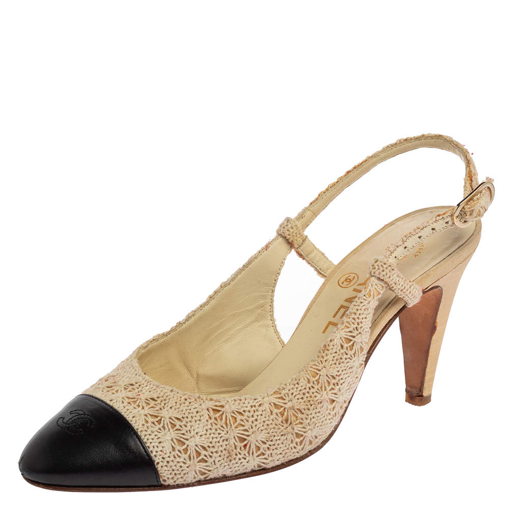 Chanel Beige/Black Lace And Leather Slingback Sandals Size 37.5