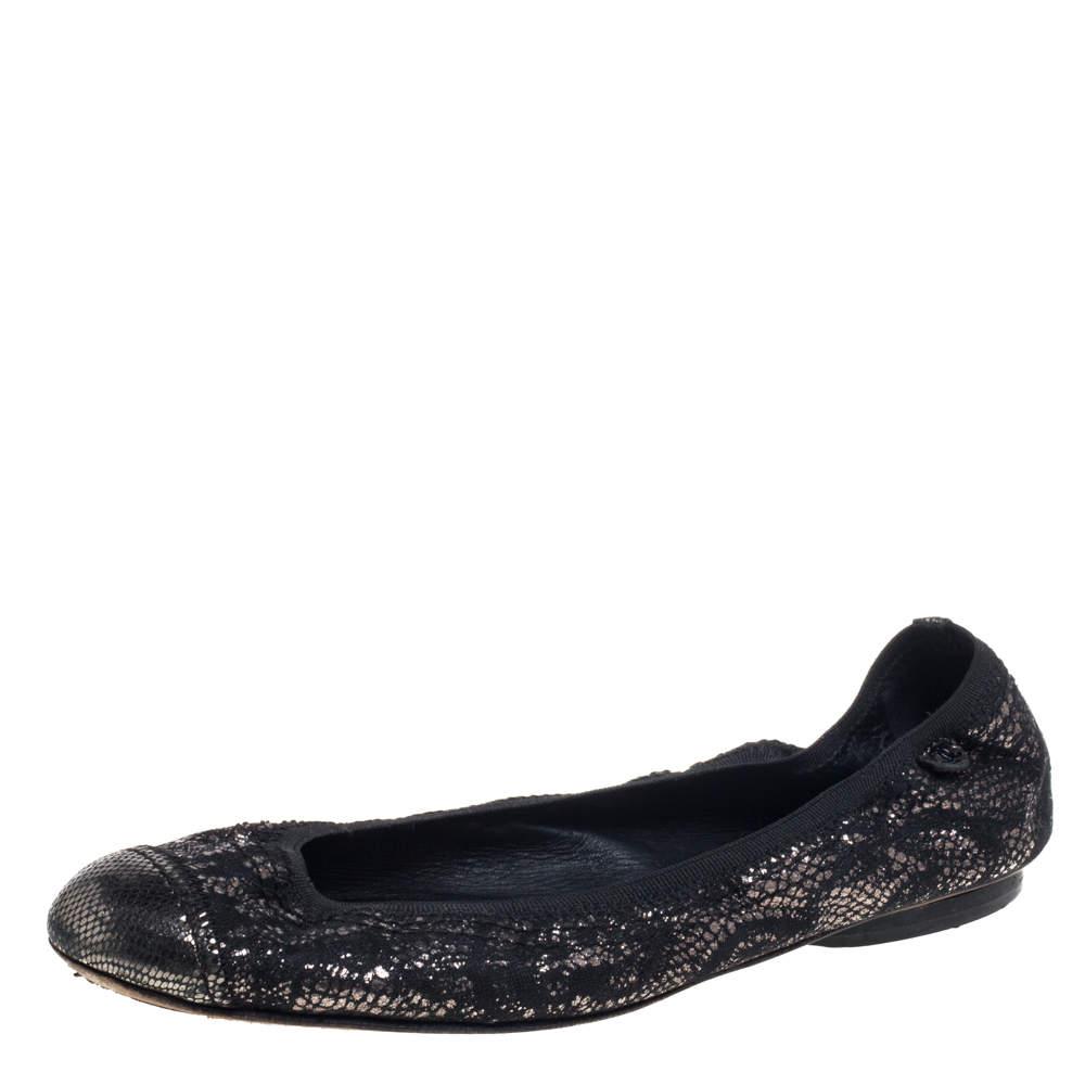Chanel Metallic Black Fabric Scrunch Ballet Flat Size 37.5