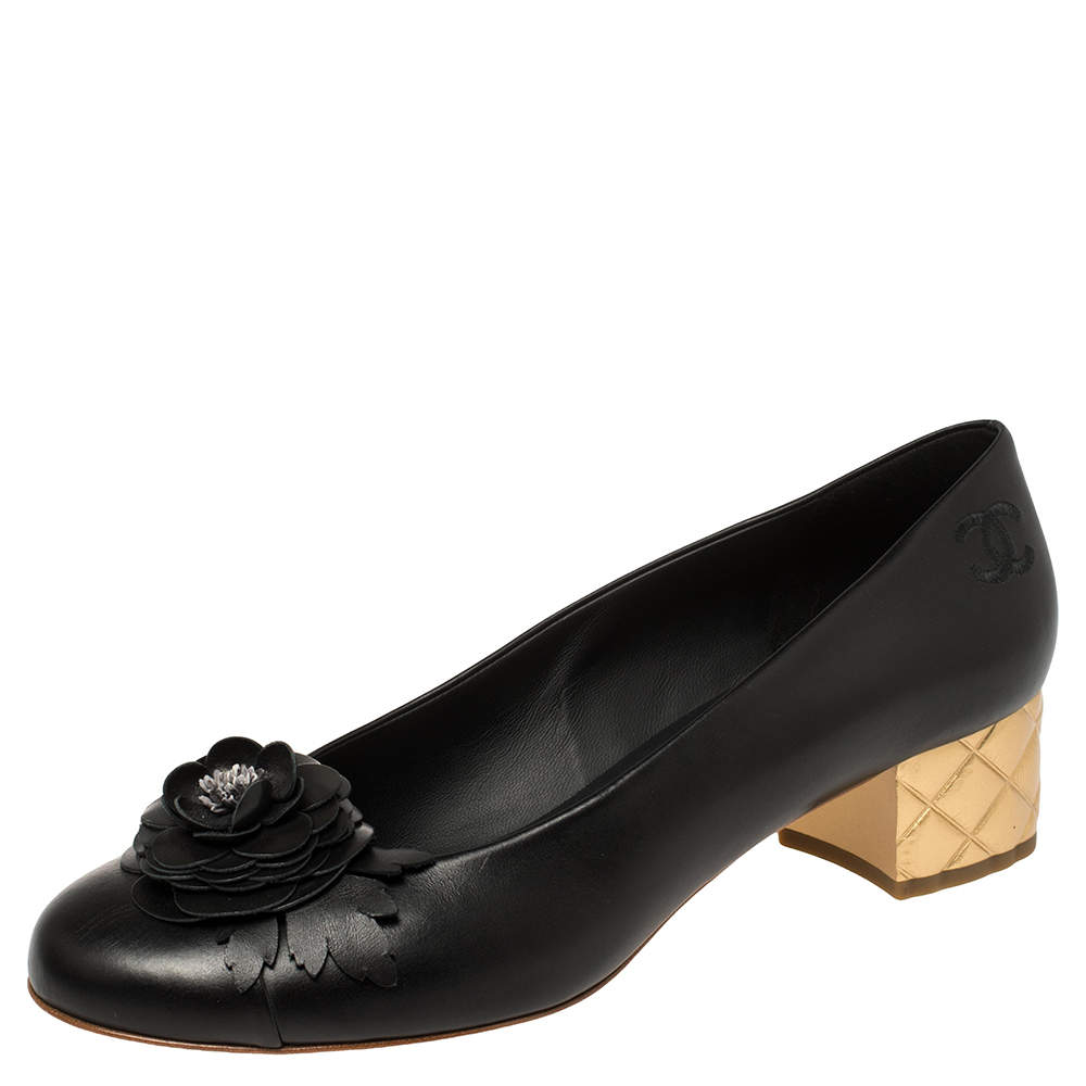 Chanel Black Leather Camellia CC Block Heel Pumps Size 41