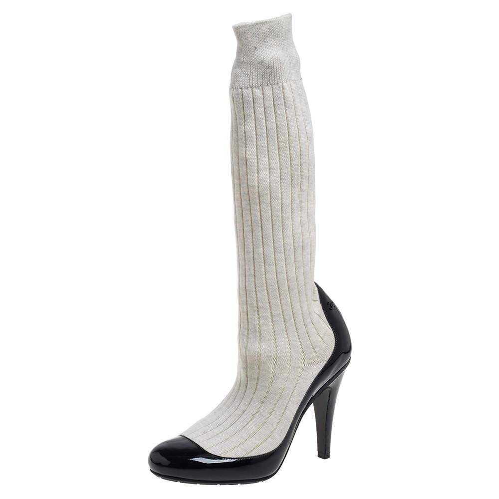 Chanel Black/Off White Patent Leather And Sock Knee Boots Size 36