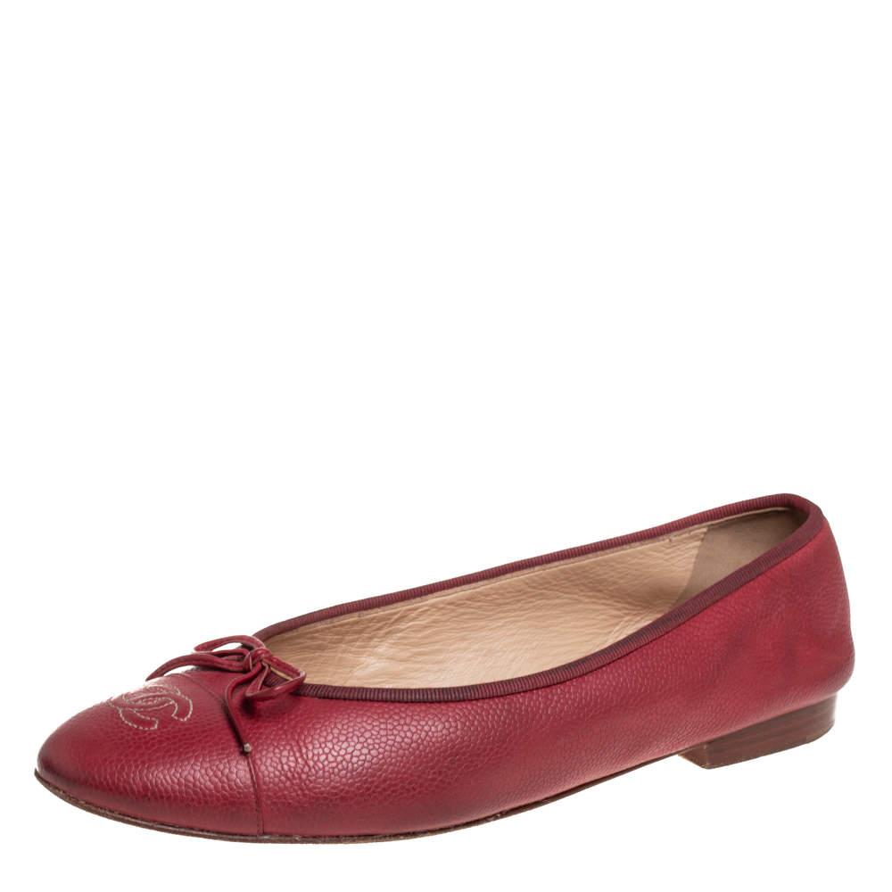 حذاء فلات باليه شانيل غطاء مقدمة سى سى جلد أحمر مقاس 40.5