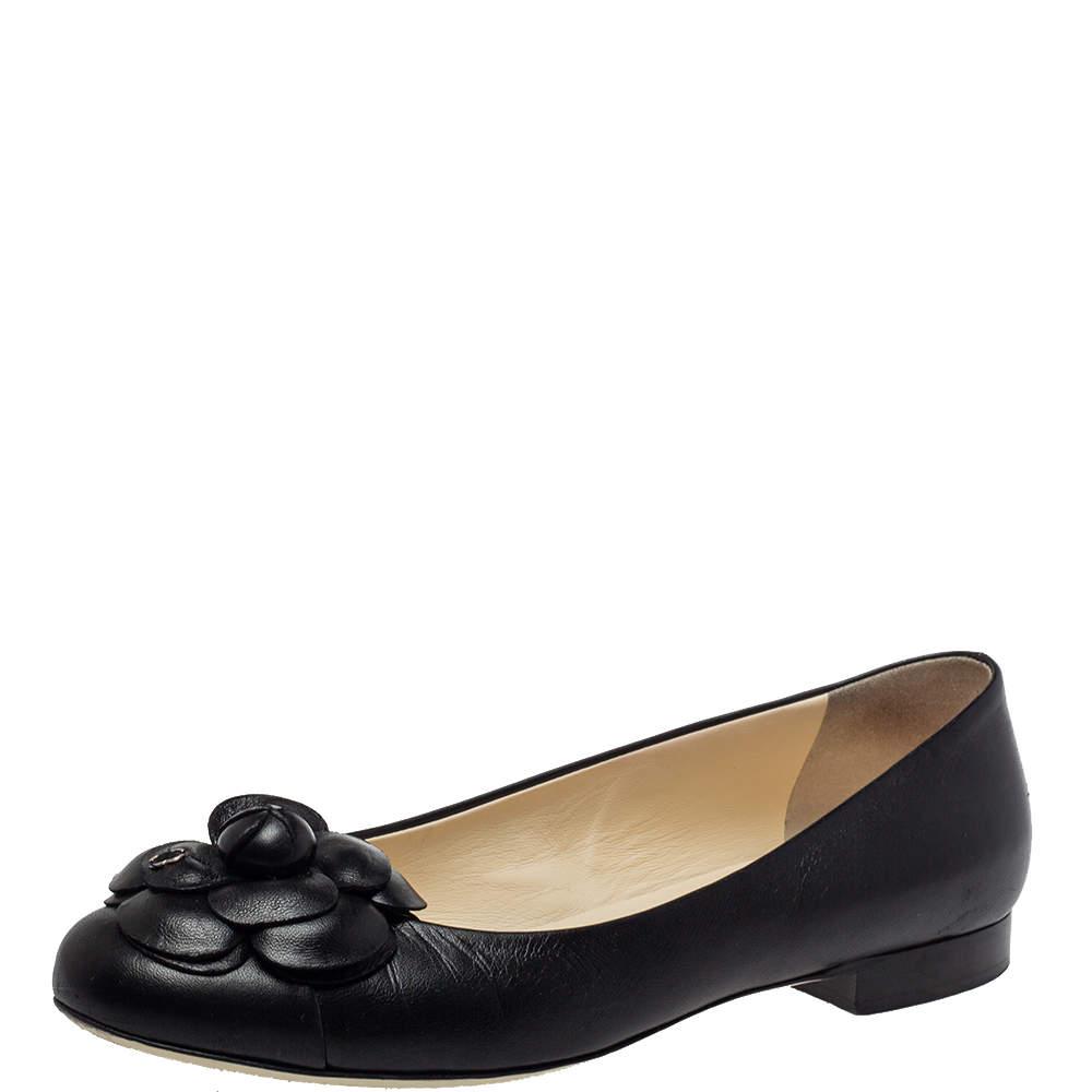Chanel Black Leather Camellia Flower Ballet Flats Size 38