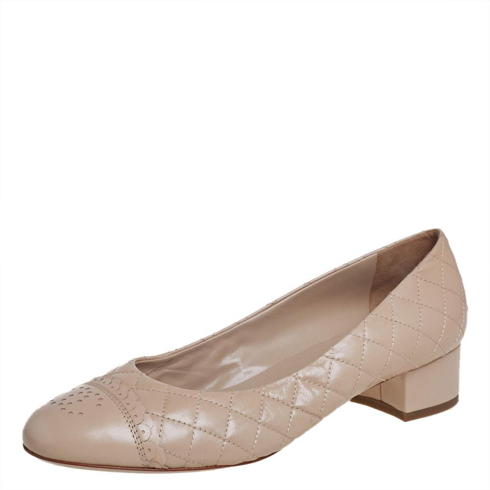 Chanel Beige Leather CC Block Heel Pumps  Size 39.5