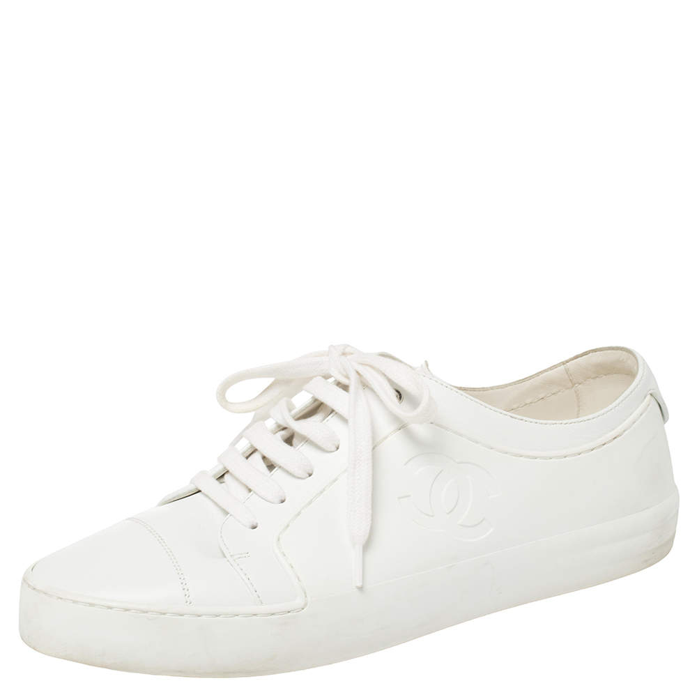 Chanel White Rubber And Leather CC Lace Up Sneakers Size 40
