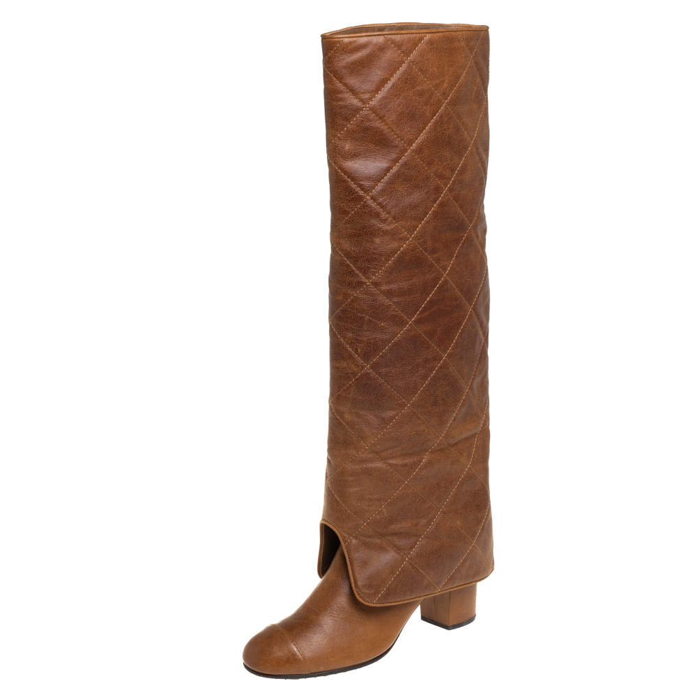 Chanel Brown Quilted Leather Fold Over Knee Legnth Boots Size 38