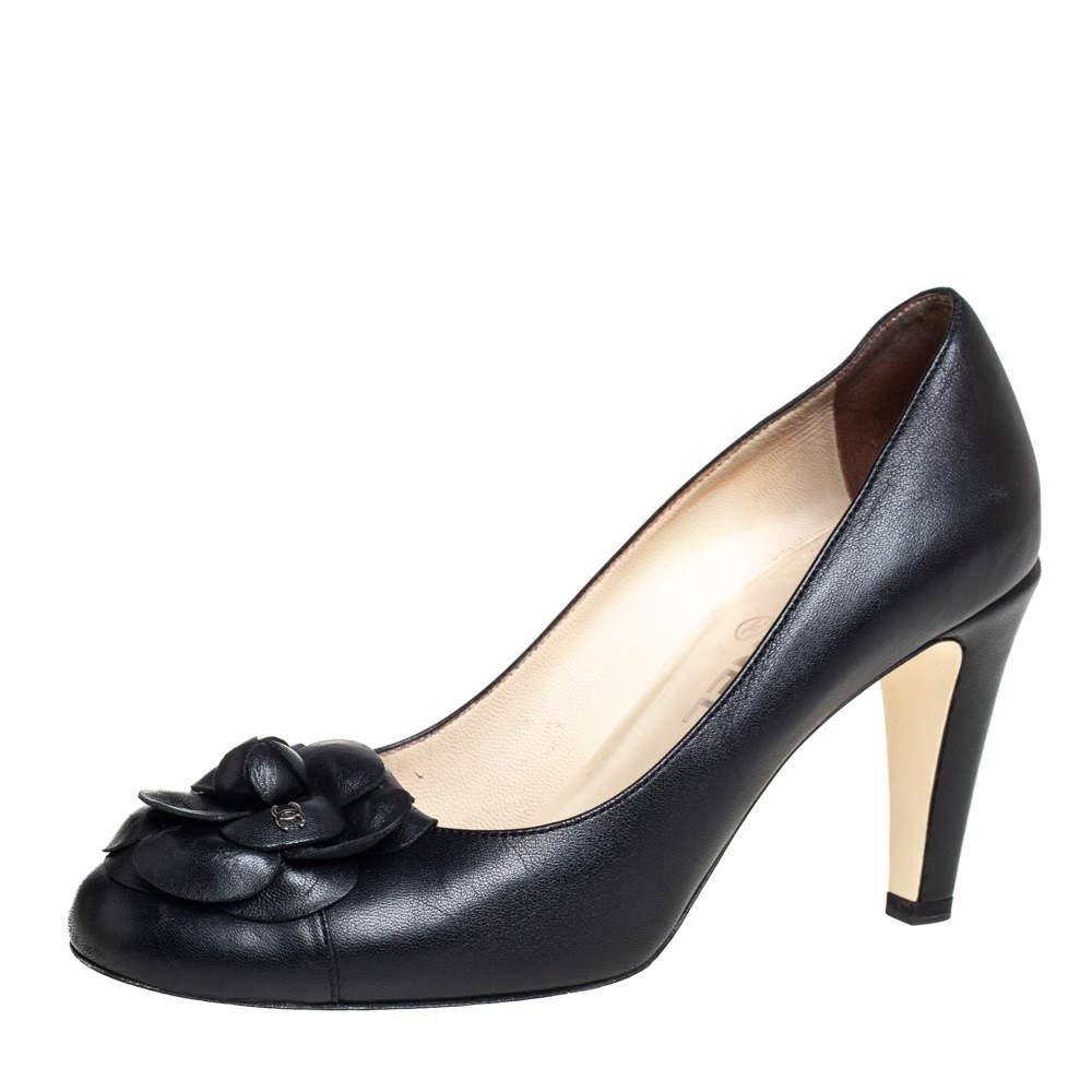 حذاء كعب عالى شانيل كاميليا جلد أسود مقاس 39