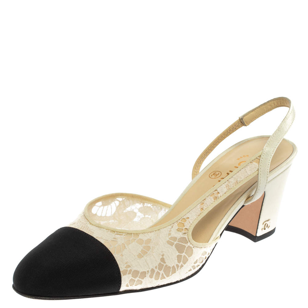 Chanel White Lace And Fabric Cap Toe Slingback Sandals Size 38