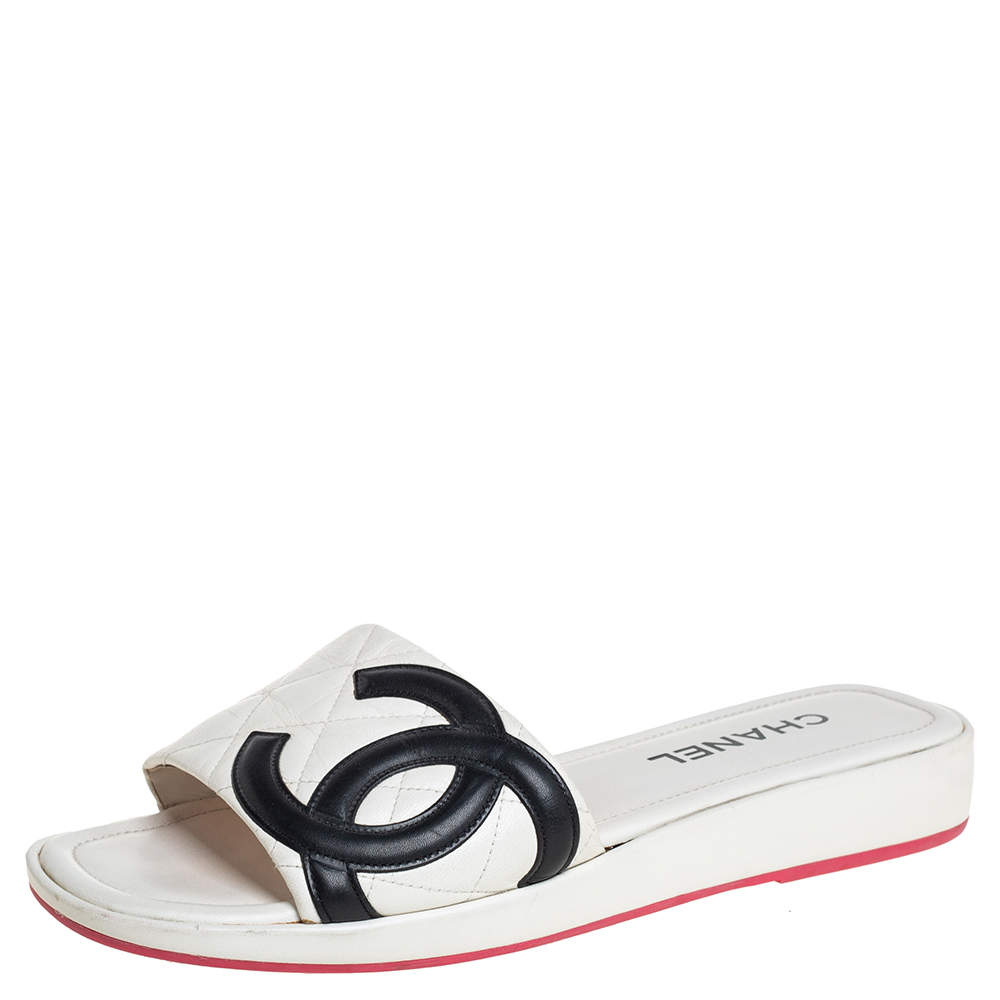 Chanel White/Black Leather CC Cambon Flat Slides Size 41.5