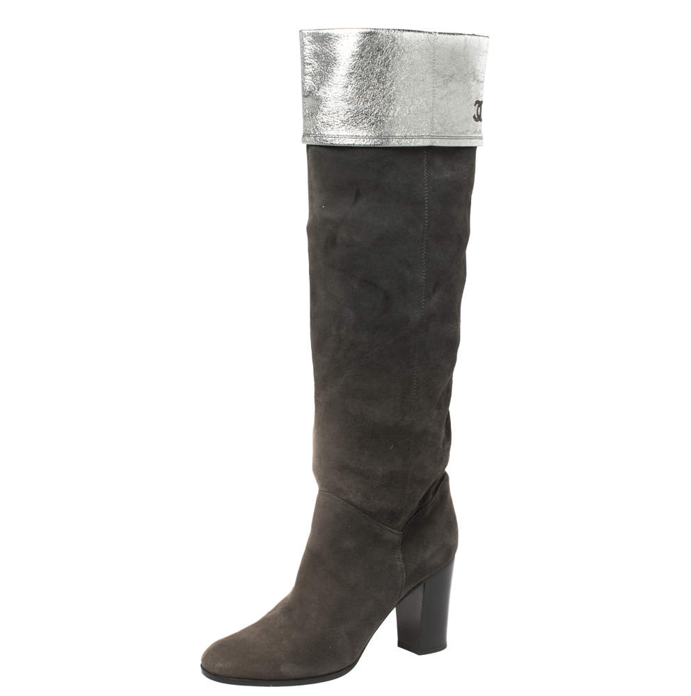 Chanel Dark Grey Suede And Leather Knee Length Boots Size 41
