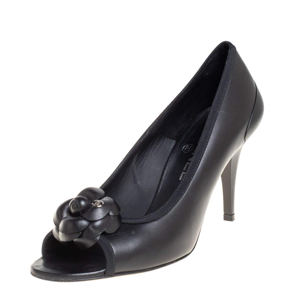 Chanel Black CC Camellia Leather Peep Toe Pumps Size 38.5