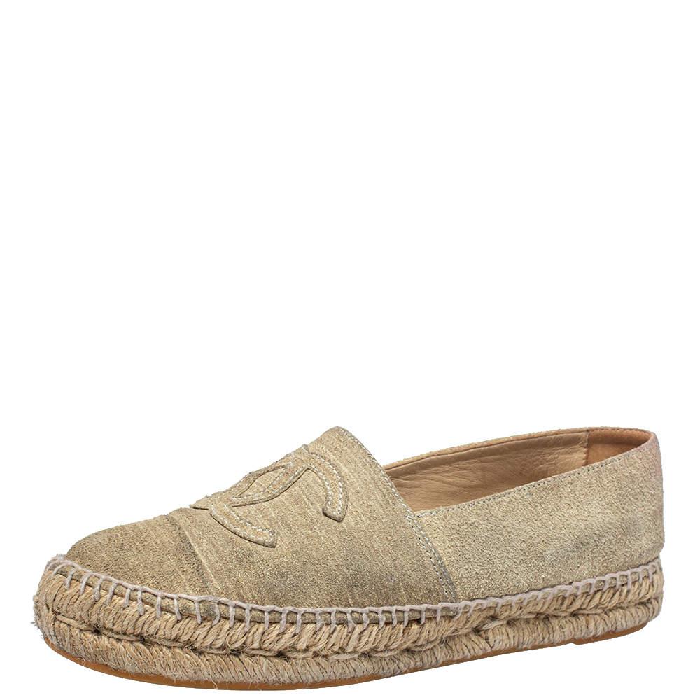Chanel Beige Suede CC Cap Toe  Espadrille Flats Size 38