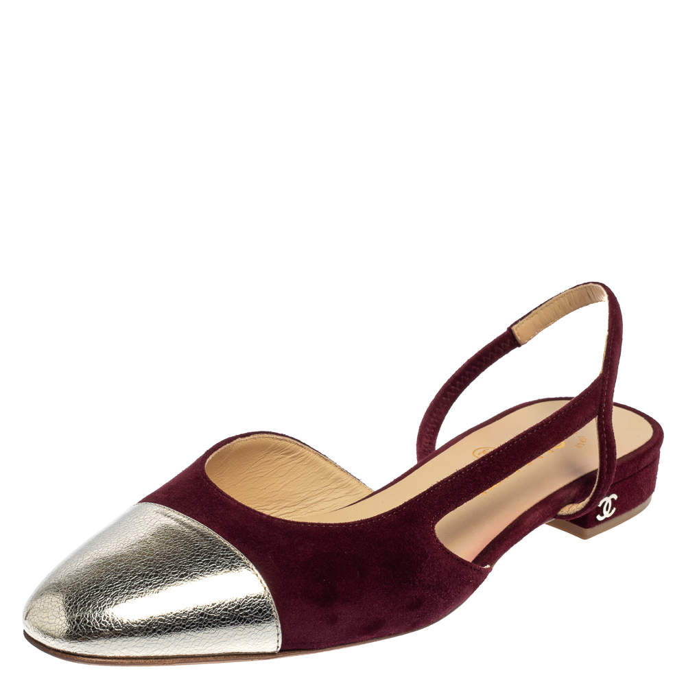 Chanel Burgundy/Silver Suede And Leather Cap Toe Slingback Flat Sandals Size 38