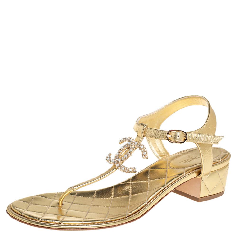 Chanel Gold Leather Interlocking CC Logo T-Strap Sandals Size 41.5