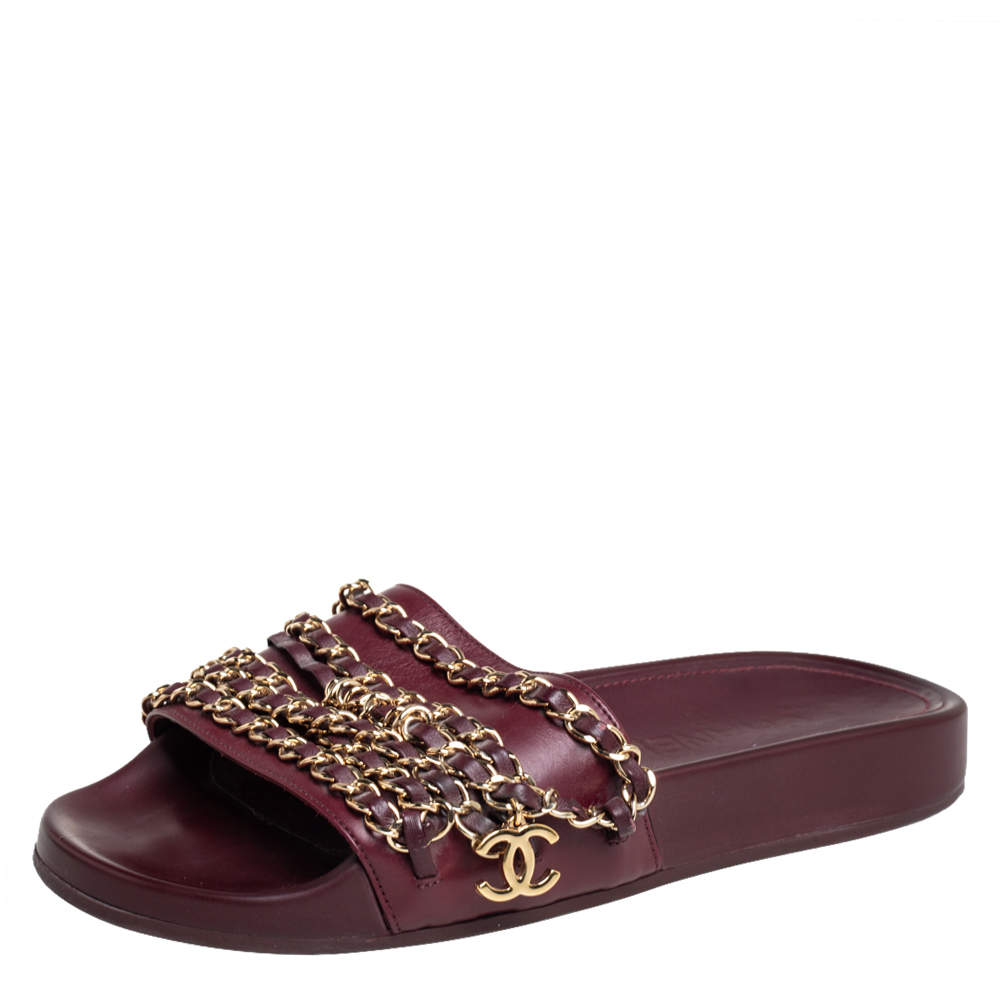 Chanel Burgundy Leather  Tropiconic Chain Detail Flat Sandals Size 35