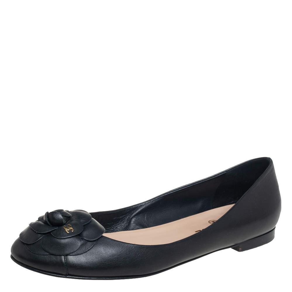 Chanel Black Leather Camellia Ballet Flats Size 40