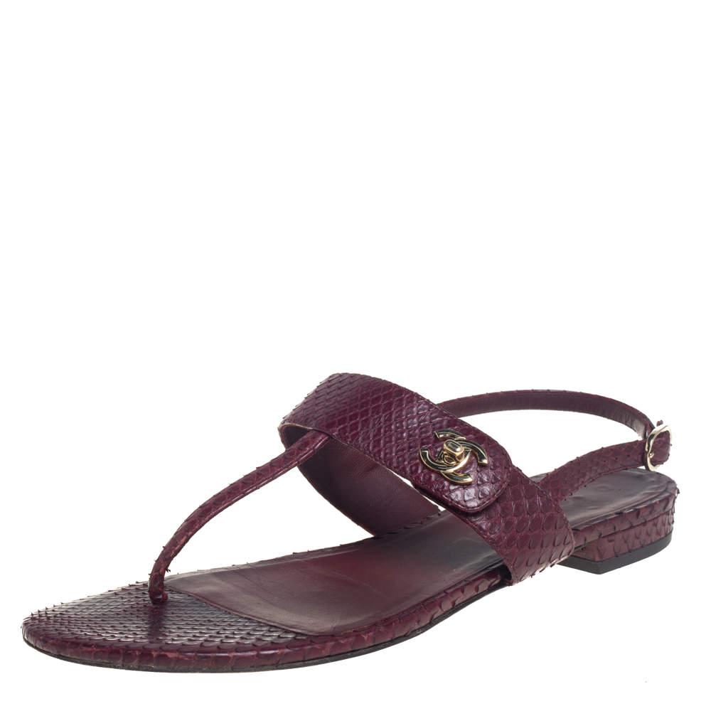 Chanel Burgundy Snakeskin CC Thong Flats Size 37
