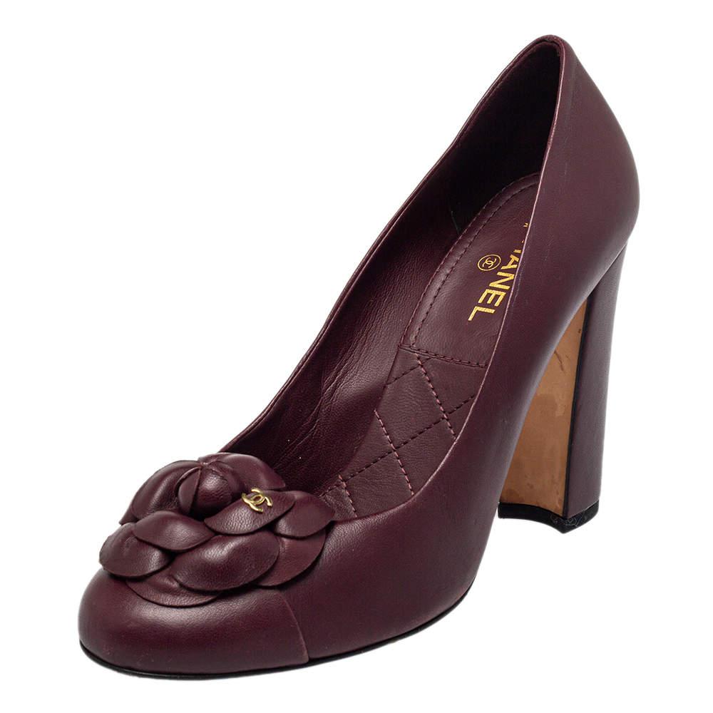 Chanel Burgundy Leather Camellia Block Heel Pumps Size 38
