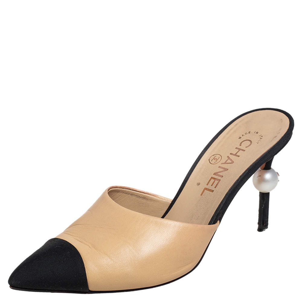 Chanel Beige/Black Leather and Canvas CC Pearl Embellished Heel Mules Size 36