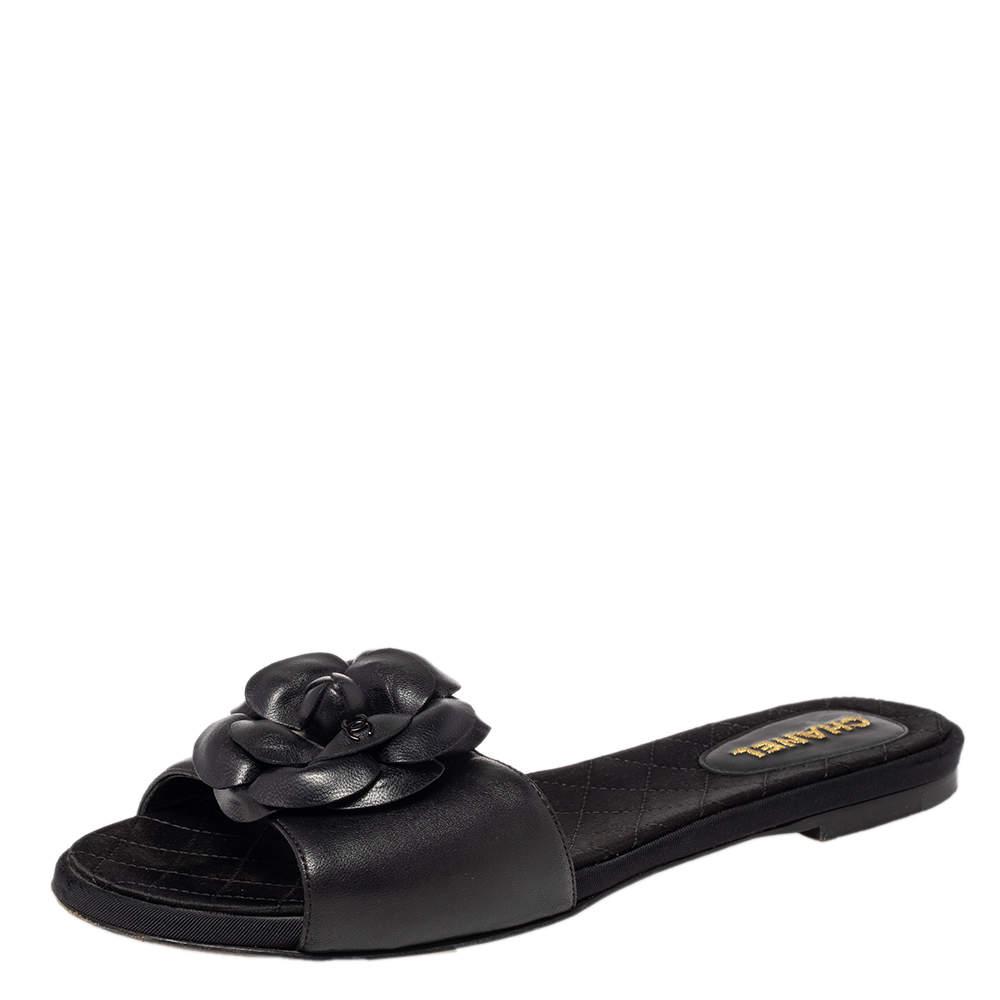 Chanel Black Leather Camellia Embellished CC Slide Flats Size 38.5