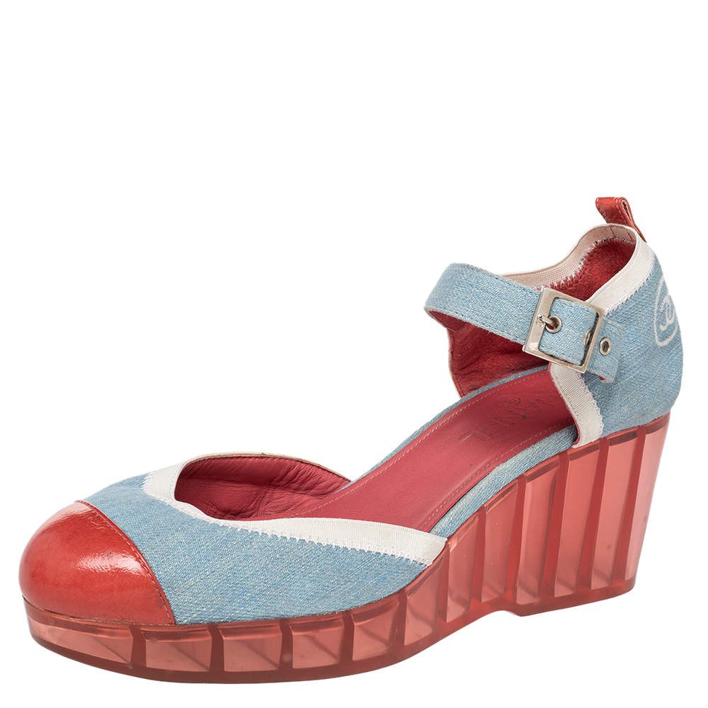 Chanel Blue/Red Denim And Paten Leather CC Cap Toe Wedge Platform Ankle Strap Sandals Size 40