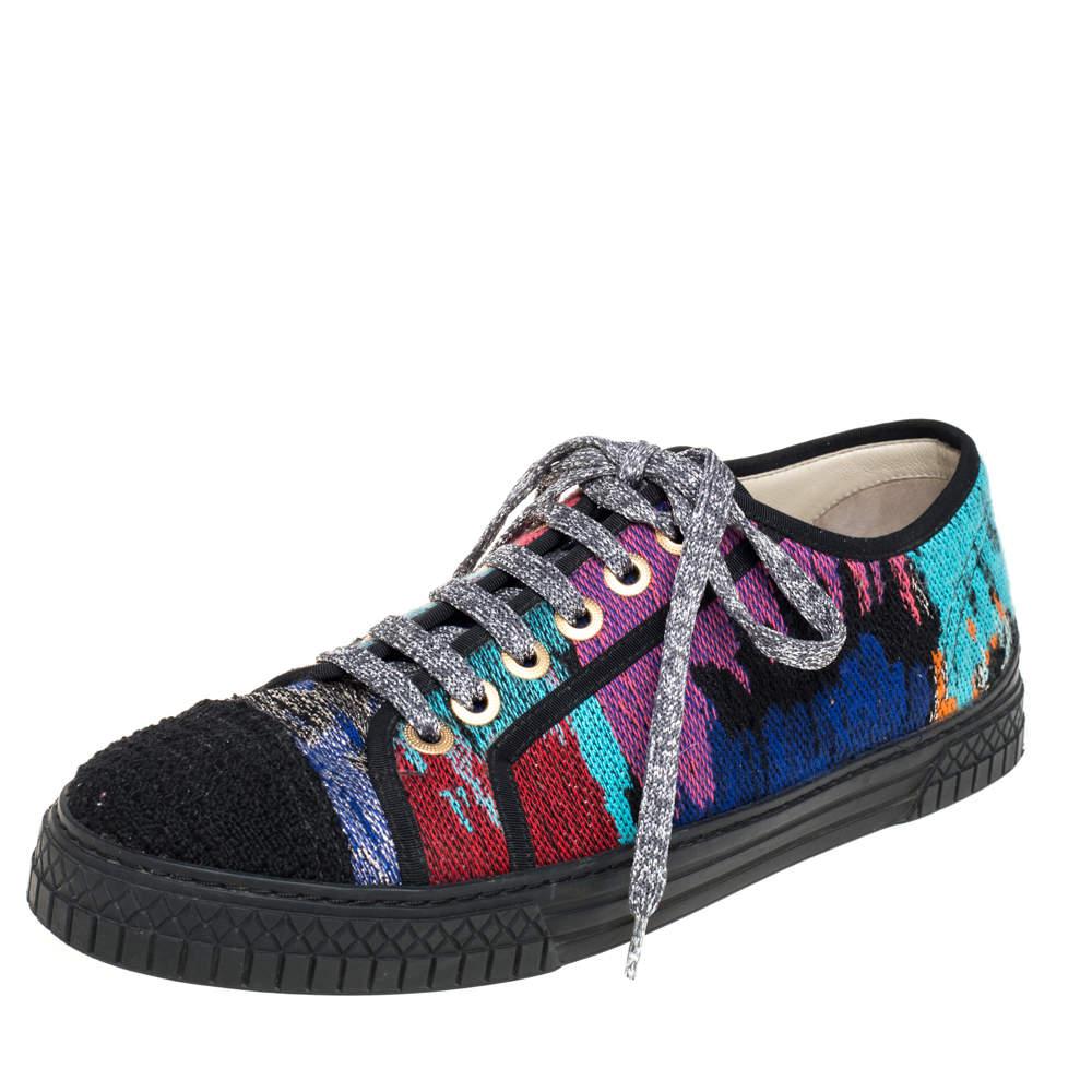 Chanel Multicolor Tweed Low Top Sneakers Size 40