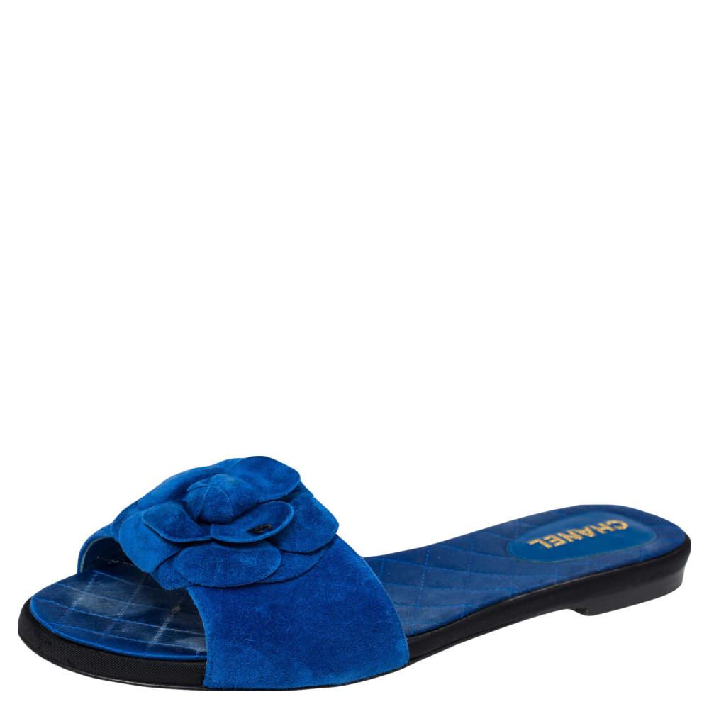 Chanel  Blue Suede Camellia  Flat Sandals Size 39