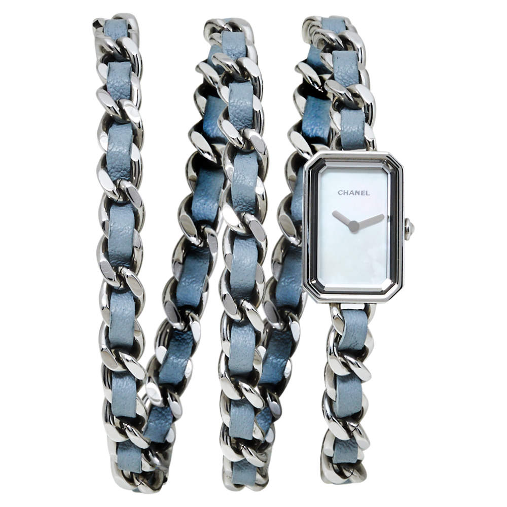 Chanel Mother of Pearl Stainless Steel Leather H4327 Première Rock Quartz Women's Wristwatch 16 MM