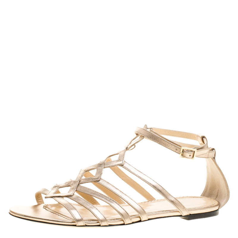 Charlotte Olympia Metallic Beige Leather Magdalena Flat Sandals Size 41