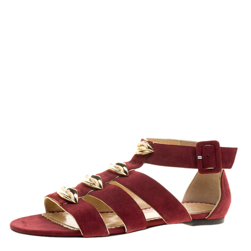 Charlotte Olympia Red Suede One More Kiss Sandals Size 36