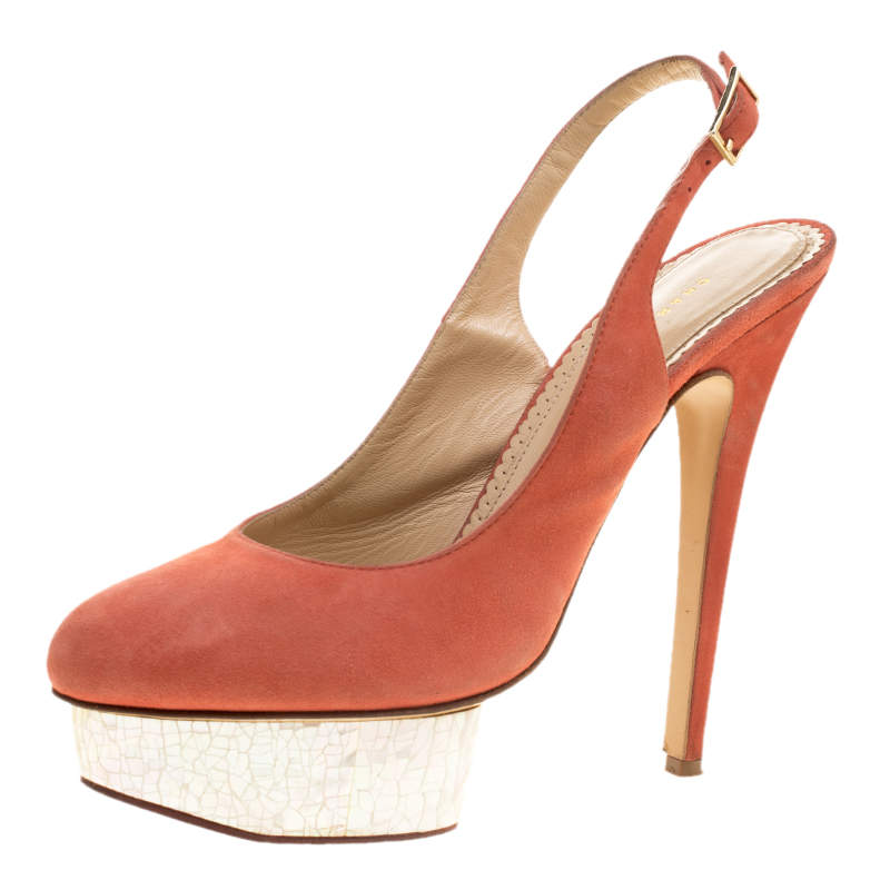 Charlotte Olympia Red Suede Dolly Slingback Platform Pumps Size 40