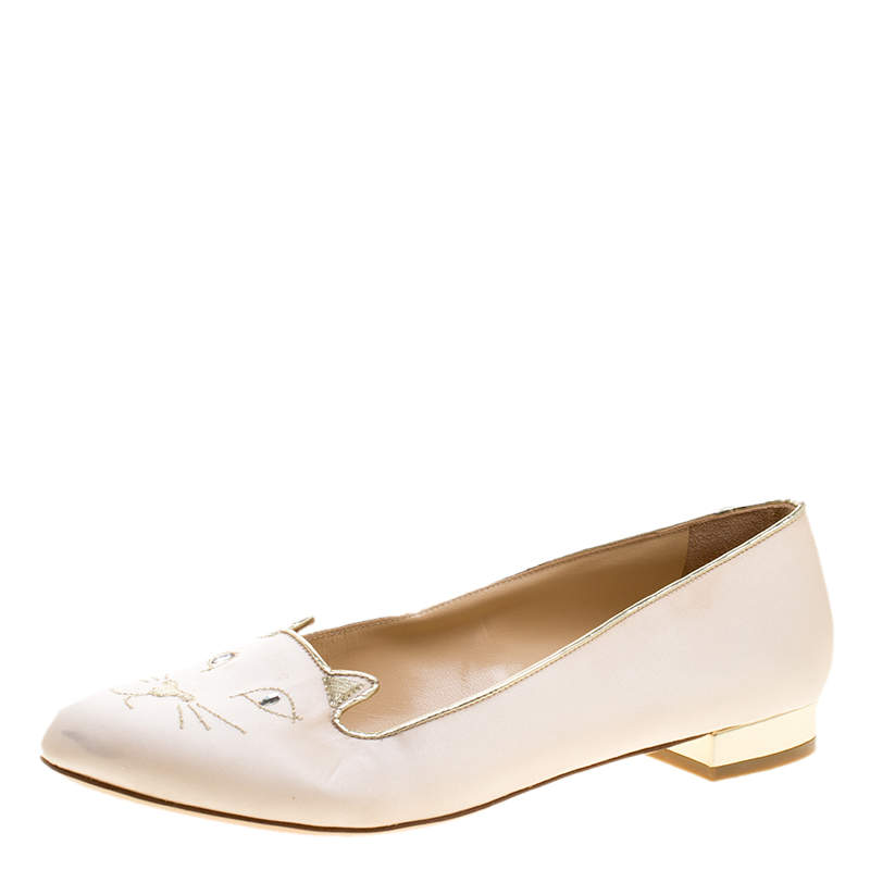 Charlotte Olympia Pale Pink Kitty Embroidered Satin Flats Size 40