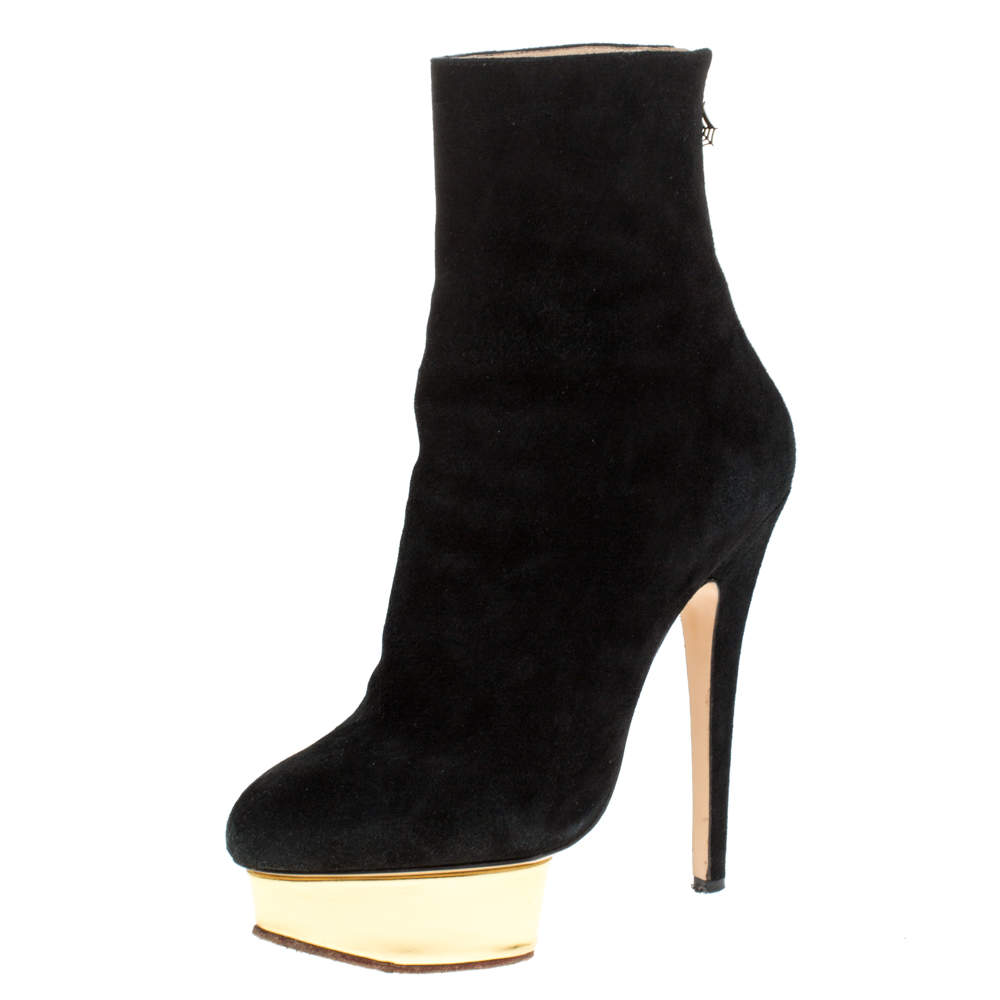 Charlotte Olympia Black Suede Lucinda Platform Ankle Boots Size 37
