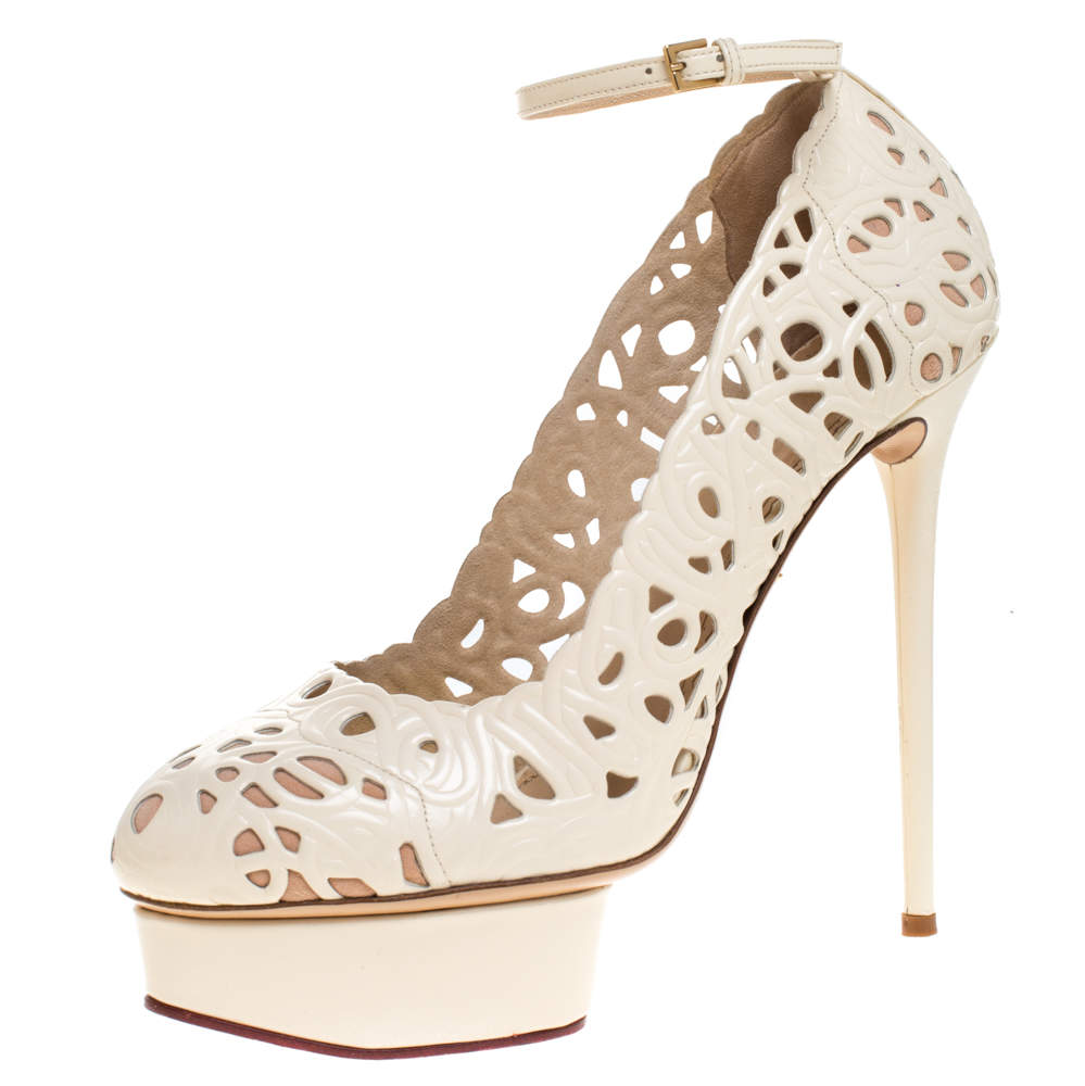 Charlotte Olympia Cream Cut Out Leather Scribble Dolores Ankle Strap Platform Pumps Size 41