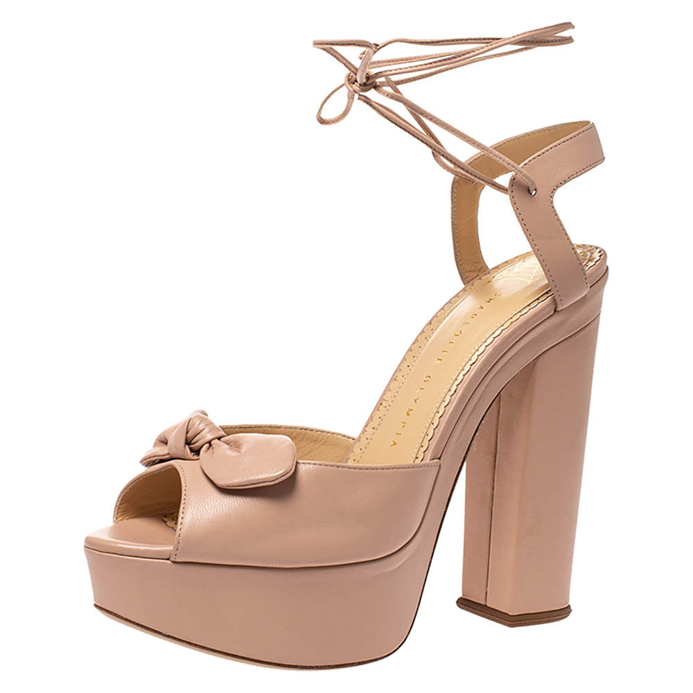 Charlotte Olympia Beige Leather Bow Ankle Tie Up Platform Sandals Size 41