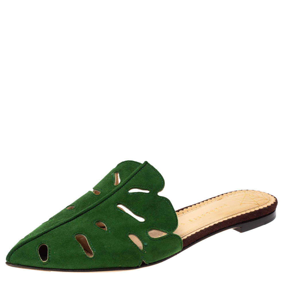 Charlotte Olympia Green Suede Verdant Flat Mules Size 36